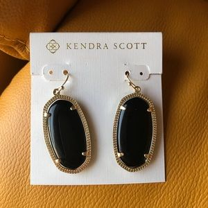Kendra Scott black stone drop Elle earrings